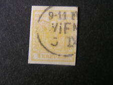 *AUSTRIA, SCOTT # 1, 1kr. VALUE YELLOW 1850 COAT OF ARMS ISSUE USED