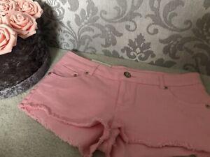 Topshop Moto Pink Hotpant Denim Shorts Size 12 W30 Brand New