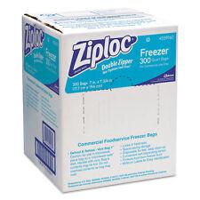 Ziploc Double Zipper Freezer Bags, 1qt, 2.7mil, 7 x 7 3/4, Clear w/Label, 300