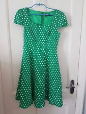 DOLLY AND DOTTY GREEN VINTAGE STYLE 40s/50s ROCKABILLY SWING DRESS SZ10