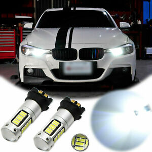 2pcs Error Free White PW24W 30-SMD LED DRL Light Bulb For BMW F30 320i 328i 335i