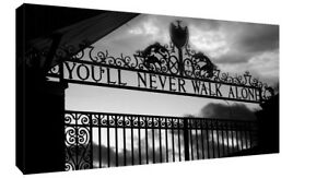 Liverpool You'll Never Walk Alone CANVAS WALL ART Picture Print Black and White