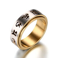 Six Syllable Mantra Stainless Steel Band Men's Gold/Black Spinner Ring Size 7-12