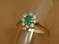 Vintage 14K Yellow Gold Oval EMERALD and DIAMOND Halo Ring - Size 8