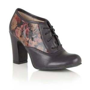 Ladies Lotus Lian Purple Floral multi Steampunk Vintage Lace Up Shoe Boots