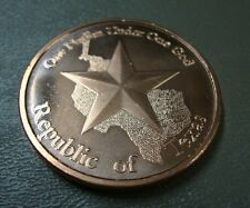 Copper Rounds 6-Pack ~ Republic of Texas ~ Lot Of 6 Troy Ounces .999 Fine