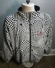 Le Coq Sportif Jacket Vintage Full Zip Up Retro Black and White Checkers Swirls