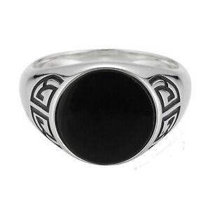 cai men Ring 925 Sterling Silber rhodiniert Onyx schwarz Ornamente Lack Herren