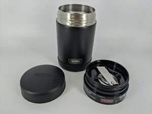 Thermos 16 oz Food Jar Insulated FUNtainer Black w/Folding Spoon Hot/Cold NEW