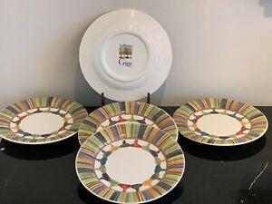 GIEN France Taffetas  Multicolor Tassels Design Bread Plate Set of 5