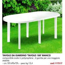 TAVOLO IN PLASTICA DA GIARDINO Cm 181 X 90 H= 72  COLORE BIANCO 6 GAMBE  117517