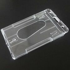 3Pcs Vertical Hard Double Card Acrylic Plastic Transparent ID Badge Card Holder