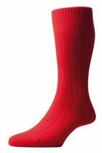 Pantherella Mens Waddington Rib Luxury Cashmere Socks - Red