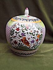 """Hand Painted Floral Bird Chinese Porcelain Ginger Jar w/ Lid 9"""" x 8"""" diam"""