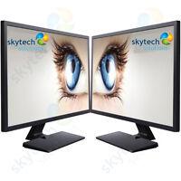"""2x 17"""" Inch Monitor Cheap Dual Monitor Pair VGA TFT LCD Office Laptop Gaming PC"""