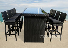 Outdoor Wicker Table And Chairs Bar Setting Patio Dining Pool 9PCS Waterproof