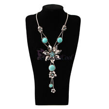 Pretty Fashion Lady Girl Gift Turquoise Flower Pendant Rhinestone Chain Necklace