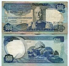 Angola 1972 500 Escudos F Banknote Money Banknote Marechal Carmona