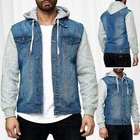 Herren 2in1 Sweat Jeans Jacke mit Kapuze Vintage Denim Sweatshirt Ärmel Übergang