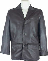 UNICORN Mens Real Leather Jacket Classic Suit Blazer Brown #A4