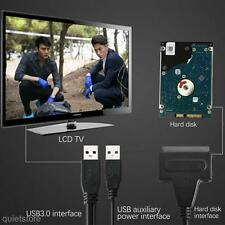 Schwarz USB 3.0 zu 2.5 3.5 SATA Festplatte Konverter Adapter+USB Kabel