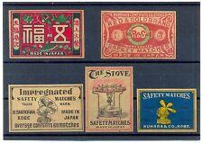 Vintage Japan Japanese China Chinese Asian 5 Matchbox Labels 1910s