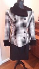Mimmina ITALY wool HoundsTooth black white Jacket Blazer Skirt Suit Medium 6 8