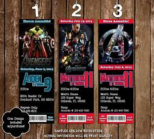 The Avengers - Marvel Heroes - Birthday Ticket Invitation - 20 Printed W/envelop
