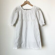 Snidel Tunic Size XS 0? Top Babydoll Half Sleeve Floral Laser Cut White Japan
