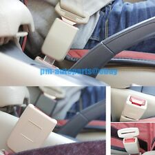 PM 2PCS Beige Seat Belt Strap Buckle Safety Extender Alarm Stopper Steel Insert