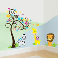 Safari Tree Animal Wall Stickers Kids Nursery Decals Girls Bedroom Decor