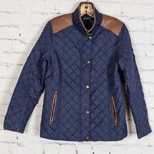 Lauren Ralph Lauren Faux Brown Leather Trim Navy Quilted Jacket PS Petite Small