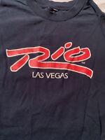 Rio casino t-shirt Las Vegas Vintage 1990 Masquerade Village Medium M Blue
