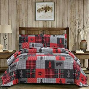 """Red Black Plaid Quilt Set Twin Size Bear Twin(Quilt 68""""*86"""") Red Plaid Bear"""