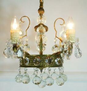 Stunning Vintage French Empire 4 Light Crystal and Bronze Chandelier