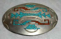 Sterling Silver Turquoise Coral Southwest un-Signed Handcrafted Belt Buckle