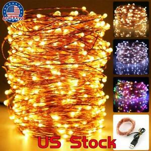 USB Plug In Micro String Lights USA 200 LED Copper Wire Party Static Fairy Light