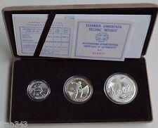 GRECIA GREECE 100 250 & 500 drachmai 1981 EUROPEAN GAMES 1982 SET PROOF