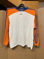 Vintage Adidas Long Sleeve T-shirt; Mens Small; 3 Stripes; Spelled Out; Orange