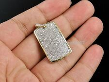 14K Yellow Gold Over Mens Round Cut 1.Ct Diamond Iced Out Dog tag Pendant Charm