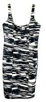 Calvin Klein Women's Black White Zebra Dress size 12 Square Neck Sleeveless 14K