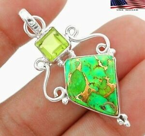 Natural Copper Green Turquoise 925 Sterling Silver Pendant Jewelry JH1-9