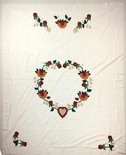 Soft colors - Floral Heart Hand Applique - QUILT TOP Large size, fine work
