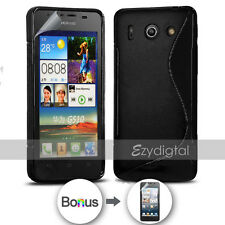 NEW BLACK S CURVED GEL CASE FOR Telstra Huawei Ascend G510 + Screen Protector