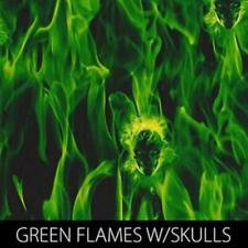 Green Flames with Embedded Skulls Hydrographic Film Pro Series (Full Meter)
