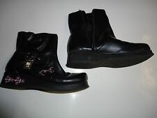 (1) Pair Girls HELLO KITTY Black Fashion Boots - Size 1 - With Buckle & Charm
