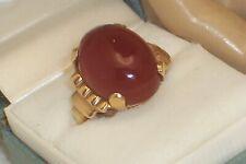 14K gold Carnelian Cornelian Cabochon Ring Size 6 Large 17.6 mm Prong Set Stone