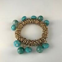 STUNNING VINTAGE ESTATE FIND BRACELET TURQUOISE BEADED WITH RARE GLASS BEADS  A4