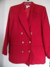 Talbots Women Red Wool  Acetate Blazer Jacket Size 10