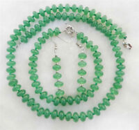 5x8mm Green Natural Emerald Rondelle Beads Necklace Bracelets Earrings Set JN996